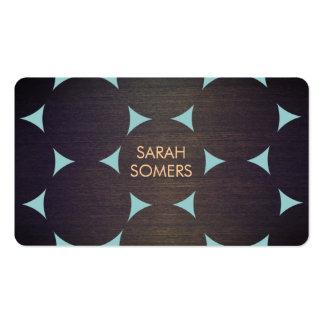 Bleu en bois frais moderne élégant de motif de cer cartes de visite personnelles