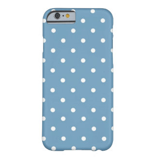 Bleu et blanc de point de polka coque iPhone 6 barely there