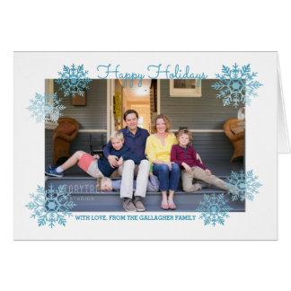 Bleu miroitant la photo chic de vacances de flocon carte de vœux