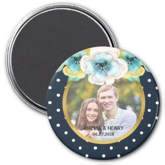 Bleu, or de Faux, photo florale de mariage Magnet Rond 7,50 Cm