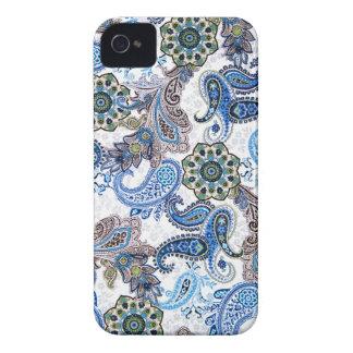bleu Paisley-iphone-Samsung de cas de téléphone Coque iPhone 4 Case-Mate
