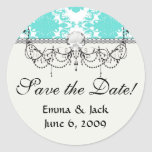 bleu romantique de tiff sur la damassé élégante sticker rond