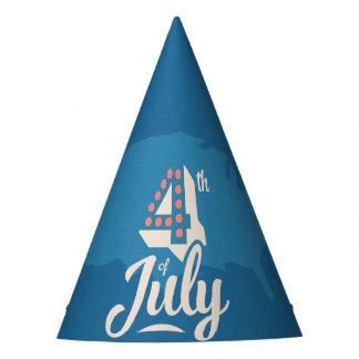 Bleu rouge texte de l'indépendance vintage chapeaux de fêtes