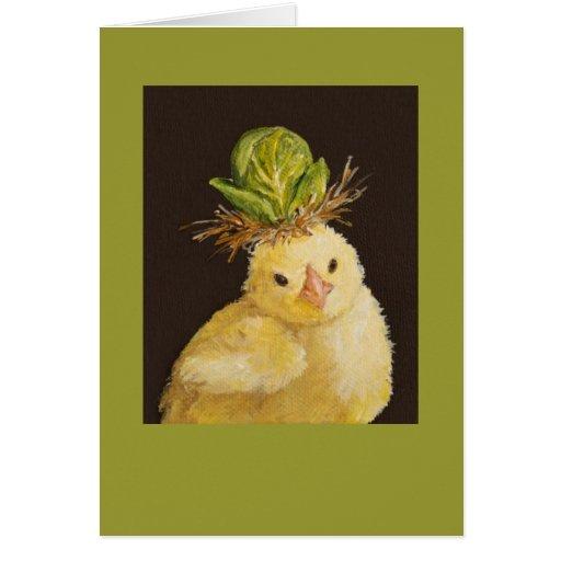 Blick mit Rosenkohl-Hutkarte Grußkarten
