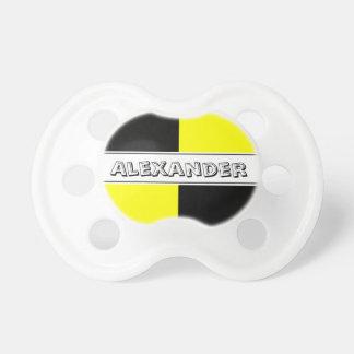 Blinder Baby-Schnuller des schwarzen und gelben Baby Schnuller