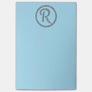 Bling Ring-Notizblock r-Monogramms Post-it Klebezettel