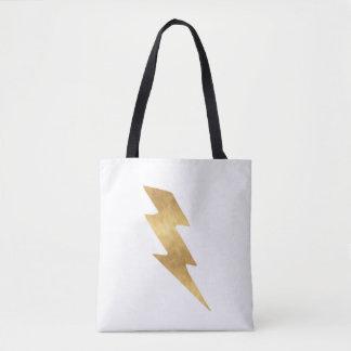 Blitz-Bolzen im metallischen Gold Tasche