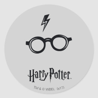 Blitz-Narbe und Gläser Harry Potter-Bann-| Runder Aufkleber