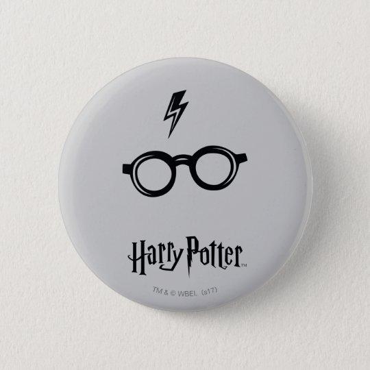 Blitz-Narbe und Gläser Harry Potter-Bann-| Runder Button 5,7 Cm