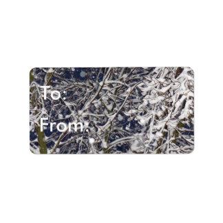 Blizzard-Baum-Winter zu/von Geschenk-Umbau Adressetikett