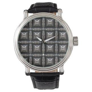 Blocky Metallmuster-Mode-Uhr Steampunk Armbanduhr