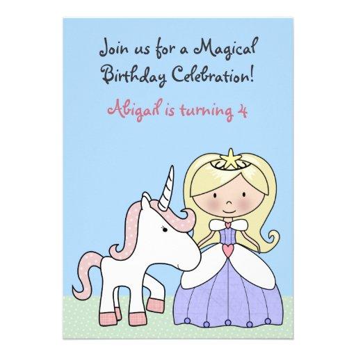 Blonde Prinzessin-und Personalisierte Ankündigungskarte