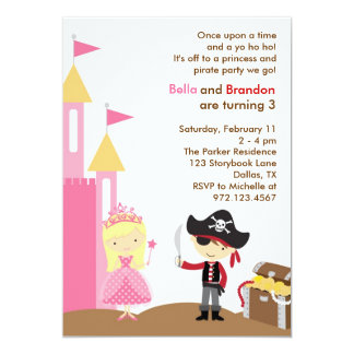 Blonde Prinzessin-und Piraten-Einladung 12,7 X 17,8 Cm Einladungskarte