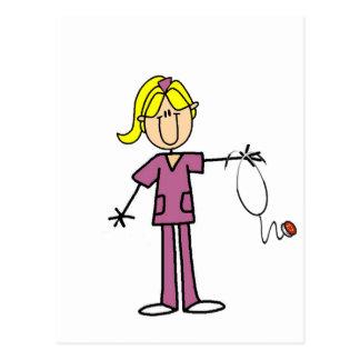 Blonde weibliche Strichmännchen-Krankenschwester-T Postkarte
