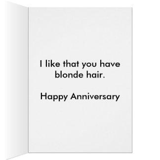 Blondes Haar-Jahrestags-Karte Karte