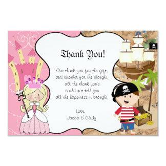 Blondes Prinzessin-u. Piraten-Party danken Ihnen Karte