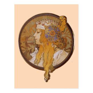 Blondine durch Alphonse Mucha Postkarte