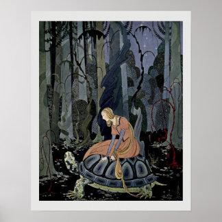 Blondine und die Schildkröten-Märchen-Illustration Poster
