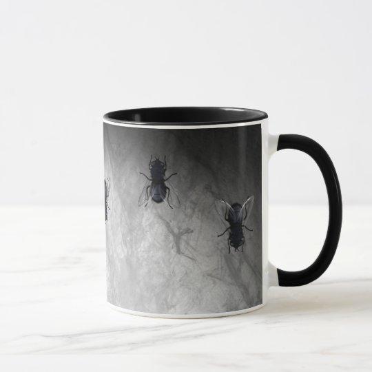 Blowflies auf der Wand (Schiefer-Grau) Tasse