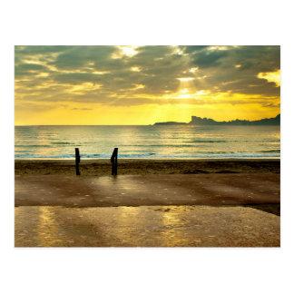Blue and yellow seaside landscape postkarte