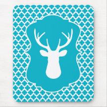 Blue Buck Deer Head Silhouette Mouse Pad