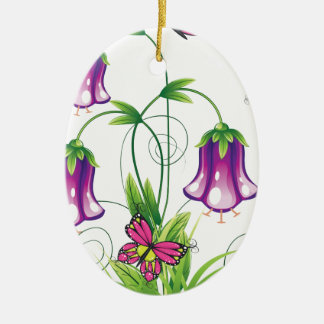 Bluebell-Blume mit Blätter Ovales Keramik Ornament