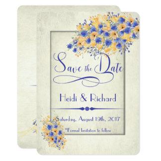 Bluebell-und Pfirsich-Mohnblumen retten die Daten 11,4 X 15,9 Cm Einladungskarte