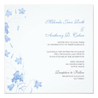 Bluebells - blaue quadratische Hochzeits-Einladung Karte