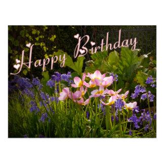 Bluebells und rosa Blumen Postkarte