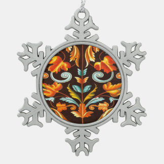 blühen Sie gelb-orangeen Herbst-Herbstlaub des Schneeflocken Zinn-Ornament