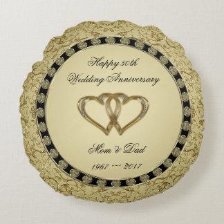 Blühen Sie goldene Hochzeits-Jahrestagthrow-Kissen Rundes Kissen