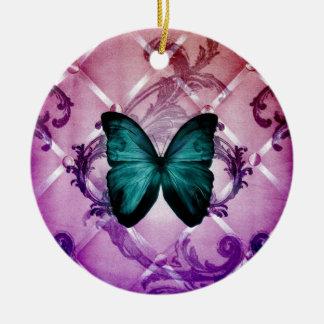 Blühen Sie lila Wirbels-böhmischen aquamarinen Keramik Ornament