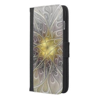 Blühen Sie mit Goldmoderner abstrakter iPhone 6/6s Plus Geldbeutel Hülle