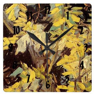 Blühende Akazie verzweigt sich Vincent van Gogh. Quadratische Wanduhr