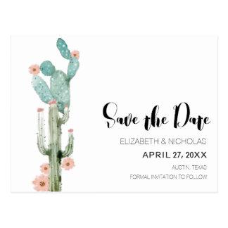 Blühende Liebe - Kaktus-Foto Save the Date Postkarte