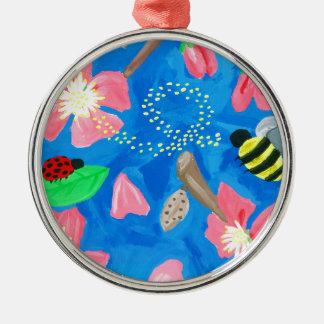 Blühende Schönheit Rundes Silberfarbenes Ornament