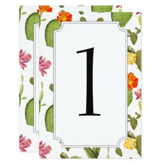 Blühende wedding Tischnummer des Kaktus Karte