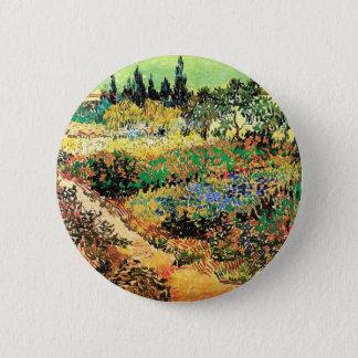 Blühender Garten mit Weg, Vincent van Gogh Runder Button 5,7 Cm