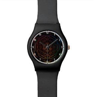 Blume des en-weiß Rands der Leben-Uhr Uhr