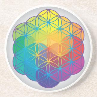Blume des Leben-Regenbogens färbt Harmonie-Energie Bierdeckel