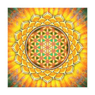 Blume des Lebens - Gelber Lotos Leinwanddruck