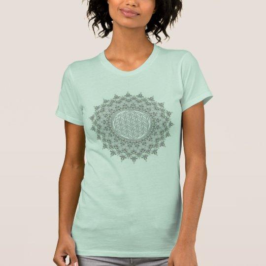 Blume des Lebens - graues Grün des Mandala T-Shirt