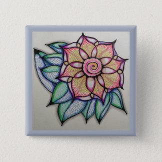 Blume, die Button, (2, zeichnet Zoll) Quadratischer Button 5,1 Cm