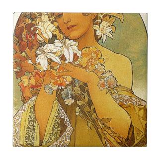 Blume durch Alphonse Mucha Fliese