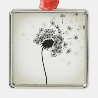 Blume ein Löwenzahn Silbernes Ornament