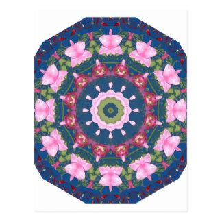 Blume-Mandala, blaues Rosa Postkarte