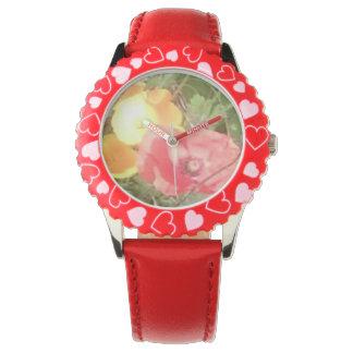Blume u. Herzen passen Rot auf, aber u kann Farbe Armbanduhr