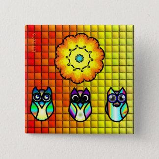 Blume und Eulen mit mit Ziegeln gedecktem Quadratischer Button 5,1 Cm