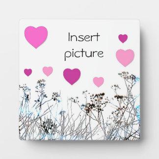 Blume und rosa Herzen mit Wildblumen Fotoplatte
