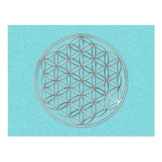 Blume von Leben | silbern, cyan-blauer Spritzer Postkarte